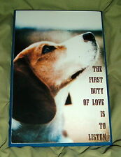 THE FIRST DUTY OF LOVE IS TO LISTEN Dog Wall Plaque Basset NEW Wood