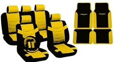 18PC Synth Leather Black Yellow Car Seat Covers Steering Wheel Floor Mats HS3