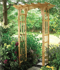Premium Suncast Cedar Arbor, New! Wooden Arch Trellis Wood Garden Yard Lattice