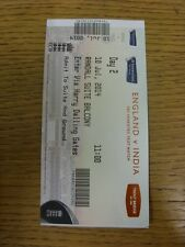 10/07/2014 Cricket Ticket: England v India [At Trent Bridge] Day 2. Trusted sell