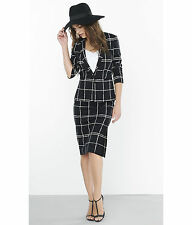NEW EXPRESS $70 PAINTED WINDOWPANE PLAID PENCIL SKIRT SZ 4