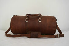 "24"" Vintage Leather Duffle Bag Gym Sports Bag Weekend Luggage AirCabin Handba"