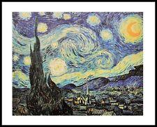 Vincent van Gogh Sternennacht Poster Kunstdruck mit Alu Rahmen schwarz 56x71cm