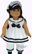 Sailor Outfit 3 PC White w/ Navy Trim for American Girl Samantha Doll Clothes