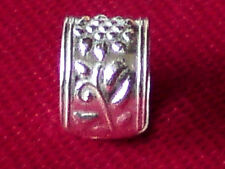 STERLING SILVER PRETTY 5mm.wide EAR CUFF with EMBOSSED FLORAL PATTERN £5.50  NWT