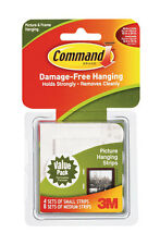 New! 3M Command Picture Hanging 4 Sets Small Strips 8 Sets Medium Strips 17203