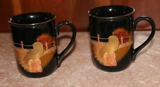 2 Otagiri Japan / Gibson Greeting Cards OWL MUGS in black with GOLD