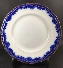 """Antique Stone China Booths England """"Royal""""  Flow Blue / Gold Dinner Plate  11JB"""