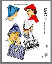 Vintage McCall's  Millinery Hat & Tote Bag Fabric Material Sewing Pattern  #1932