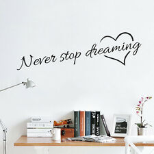 Never Stop Dreaming Inspiration Vinyl Wall Decal Quote Sticker Decor Words