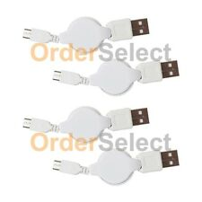 4 USB White Retract Battery Charger Cable for Android Samsung Galaxy Note 1 2 3