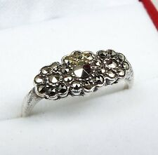 Vintage / Art Deco 9ct Gold + Sterling Silver Marcasite Cocktail Ring / Size P