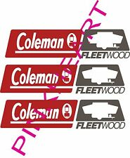 3- coleman fleetwood rv camper logo pop up decal sticker popup decals