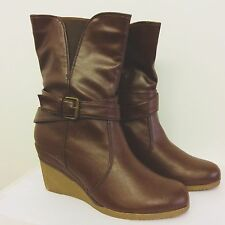 "Timeless dark brown 3"" Platform Wedges, Brand New with box. Size 8 UK, 41 EU."