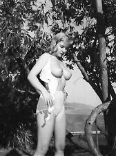 1950s Nude Pinup Removing Bra Outdoors Large D breasts 8 x 10 Photograph
