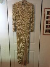 1980's Bob Mackie Nude, Gold and White Vintage Beaded&Sequin Gown - 10