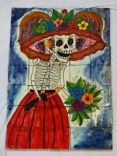 #14 Mexican Talavera Mosaic Mural Tile Handmade CATRINA Day Of The Dead
