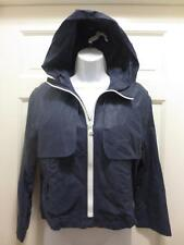 SEE By CHLOE Women NAVY Blue HOODED Zip Front LINEN Cotton JACKET Coat 4 S Small