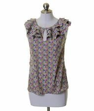 Liberty of London for Target White Pink Green Ruffle Trim Blouse Size XS