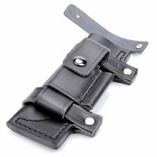 "New Straight Leather Belt Sheath For 7"" Fixed Knife W/Pouch Knives Sheath Black"