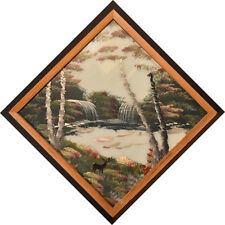 Vintage Modernist Folk Art Painting on Glass, Waterfalls with Deer, Signed