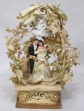 Vintage Wedding Cake Topper 1930s Very Elaborate Foliage Bell Flowers Ceramic