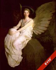 BEAUTIFUL YOUNG WOMAN ANGEL WITH LARGE WINGS PAINTING ART REAL CANVAS PRINT