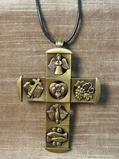 """JJ"" Jonette Jewelry Bronze Pewter 30"" CROSS Religious Symbols Necklace"