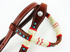 RAWHIDE TURQUOISE ONE EAR WESTERN HORSE LEATHER TRAIL SHOW HEADSTALL BRIDLE TACK