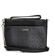 NWT Guess Janette Crossbody purse Handbag Logo Embossed Black