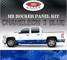"Hex 3 Blue Camo Rocker Panel Graphic Decal Wrap Truck SUV - 12"" x 24FT"