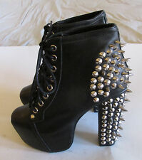 Jeffrey Campbell Spike Lita Black Leather Lace Up Ankle Boots Women's Sz 5 M