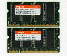 1GB (2x512MB) DDR-266 PC2100 Laptop (SODIMM) Memory RAM KIT 200-pin ***Test