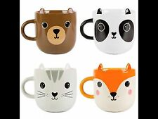 sass & belle kawaii mug set of 4 fox/panda/cat/bear cute/home/gift free p+p