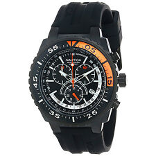 Nautica Men's N16657G NST 700 Black Chronograph Rubber Strap 45 mm Quartz Watch