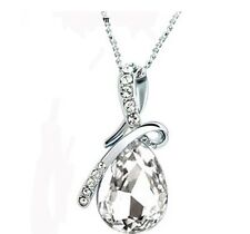 Women's Fashion Silver Chain Crystal Rhinestone Pendant Necklace Jewelry Gift
