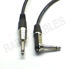 """1m 90deg to Straight Jack Guitar Lead Black Cable Mono 1/4"""" 6.35mm Right Angle"""