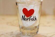 MY HEART (LOVE) NORFOLK souvenir clear shot glass