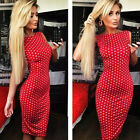 Fashion Dress Women Dress Polka Dot Dress Sleeveless Halter Pencil Dress Red/M