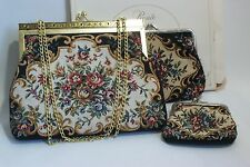 Vintage Petit Point Purse Set 3 Matching Size from Ronte of Beverly Hills