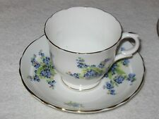Antique/Vintage China Teacup/Saucer Blue Painted Flowers, Staffordshire England