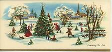 VINTAGE CHRISTMAS VILLAGE TRIMMING TREE 1 GIFT YORKSHIRE TERRIER PUPPY DOG CARD