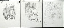 Illustrations,Lot Of 3 Sketches,SAMVEL GEVORGYAN,Armenia,Armenian Art,Armenien