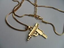 Gold Coloured Alloy  UZI Gun  Hip Hop Pendant and Chain Necklace t
