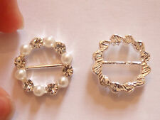 small round buckle diamante pearl clasp fastener slider crystal rhinestone 16mm