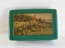 1950s FOX HUNT Scene Cuff Link Box Dresser Coin TRINKET CASE Green Plastic HOUND