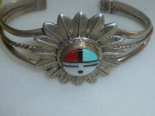 STERLING SILVER ZUNI SUN FACE FEATHER BRACELET FEATHERS INLAY CUFF STAMPED RB