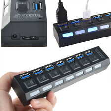 Hi-Speed 7-Port USB 3.0 Hub Powered LED Indicator+ On/Off Switch For PC Laptop x