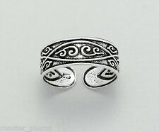 925 Sterling Silver Tribal Swirl Curl Design Sexy Toe Ring Adjustable Jewellery