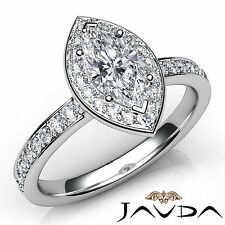 Elegant Marquise Diamond Halo Pave Set Engagement Ring GIA E VS1 Platinum 1.17Ct